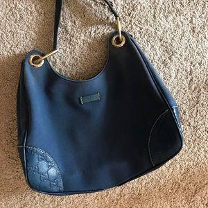 Blue canvas leather GUCCI bag